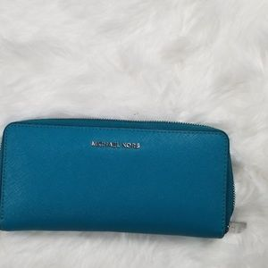 Michael Kors Teal Pebble Leather Accordion Wallet